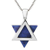 Star of David: 14K Gold & Lapis Lazuli Pendant, Jewish Jewelry | Judaica Web Store