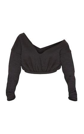 Black Crop Off Shoulder Sweater   PrettyLittleThing USA