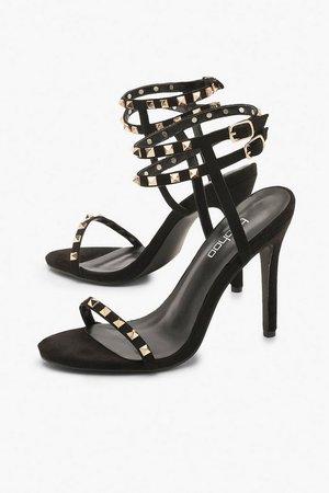 Studded Caged Detail Stiletto Heels | Boohoo