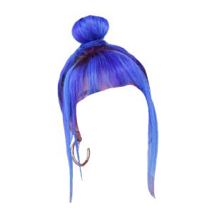 Blue Bangs Hair Bun
