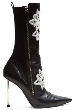 Embroidered Leather Ankle Boots - Womens - Black White
