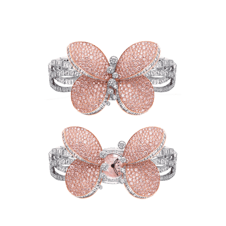 Princess Butterfly, Fully-set pink and white diamond | Graff