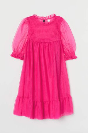 Smocked Mesh Dress - Pink