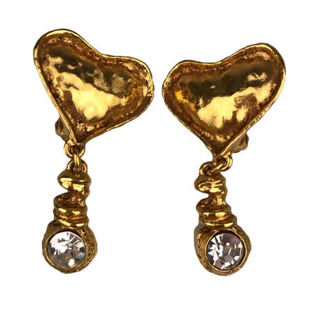 Nina Gabbana Vintage sur Instagram: Christian Lacroix hearts and strass clip earrings in gold tone are now online! Some iconic 90s jewelry going up all week! For more…