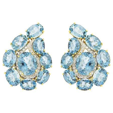 Valentin Margro Paisley Aquamarine and Diamond Earrings For Sale at 1stDibs