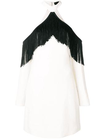David Koma fringed off shoulder dress | White | MILANSTYLE.COM