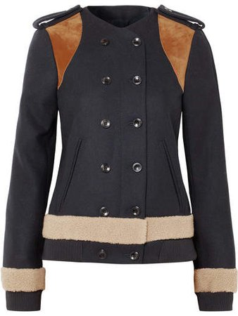 Shearling And Suede-paneled Wool-blend Felt Jacket - Navy