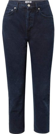 AGOLDE - Riley Cropped High-rise Straight-leg Jeans - Dark denim