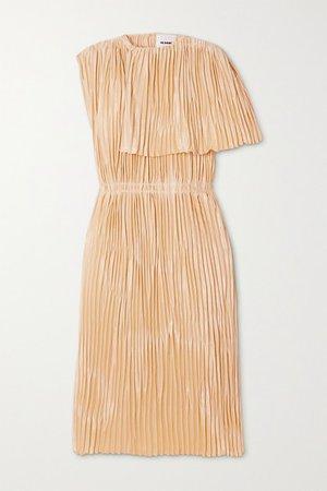Cape-effect Pleated Satin Midi Dress - Cream