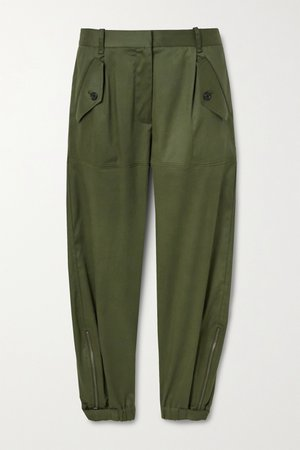 Army green Arliss cropped Lyocell-blend twill tapered pants | Nili Lotan | NET-A-PORTER