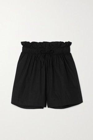 Net Sustain Shelby Gathered Cotton-poplin Shorts - Black