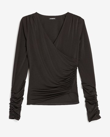 Ruched Wrap Front V-neck Tee | Express