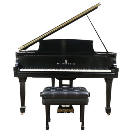 Steinway 1963 Model S Ebony Vintage Grand Piano, Professional Bench : Harp Gallery Antique Furniture | Ruby Lane