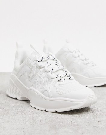 Monki chunky sole sneaker with mesh in white | ASOS