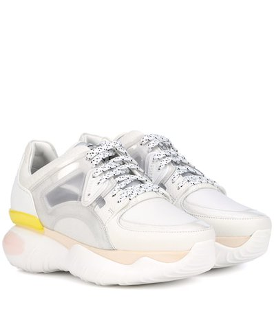 Leather-trimmed sneakers