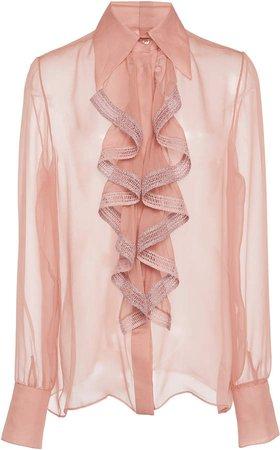 Sheer Ruffled Silk Blouse