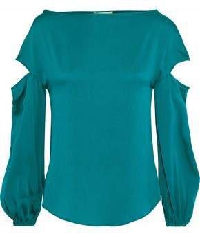 Dahlia Cutout Stretch-silk Blouse