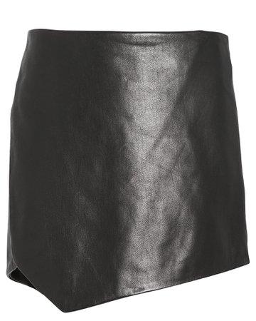 Leather Slit Side Mini Skirt