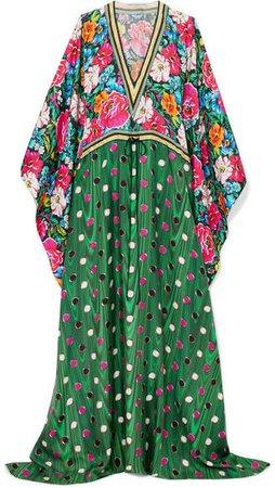 Asso Printed Silk-twill Kaftan - Green