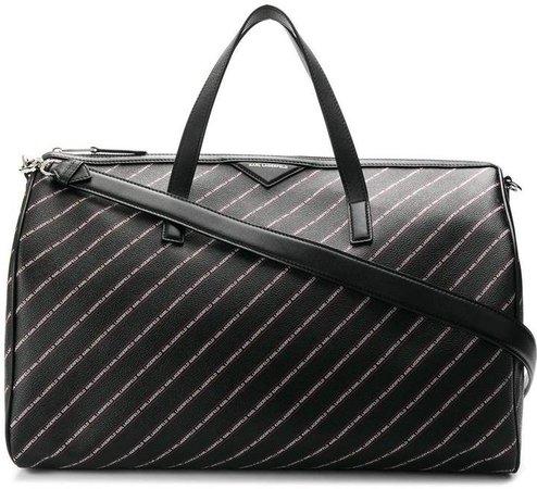 striped logo Weekender bag