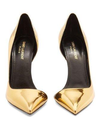 gold saint laurent shoes