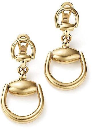 GUCCI 18K Yellow Gold Horsebit Small Earrings - Gold