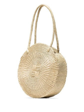 Sensi Studio Neutral Straw Circle Shoulder Bag