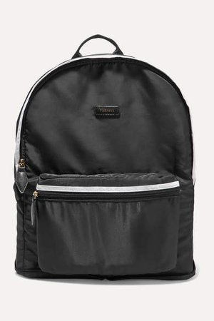 Fold-up Leather And Grosgrain-trimmed Shell Backpack - Black