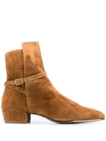 Brown Saint Laurent Clementi suede boots 5865520LI00 - Farfetch