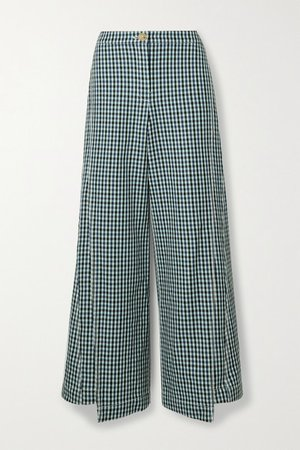 Checked Wool-tweed Wide-leg Pants - Blue