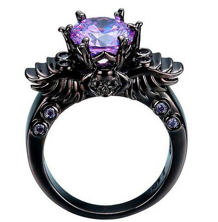 Black Gold Filled Winged Skull Ring With Purple Cubic Zirconia Stones      (3) By Jewellery UK Emporium $26.13 CAD