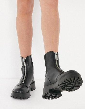 Stradivarius zip-front chelsea boots in black   ASOS