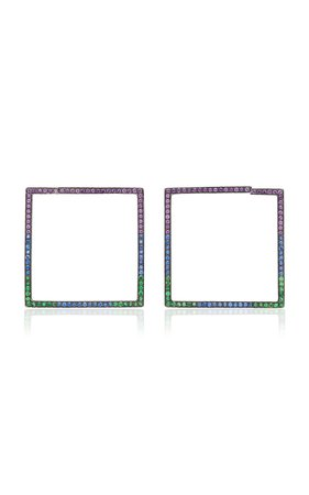 Black Rhodium-Plated Silver, Amethyst, Sapphire And Tsavorite Hoop Earrings by LYNN BAN | Moda Operandi