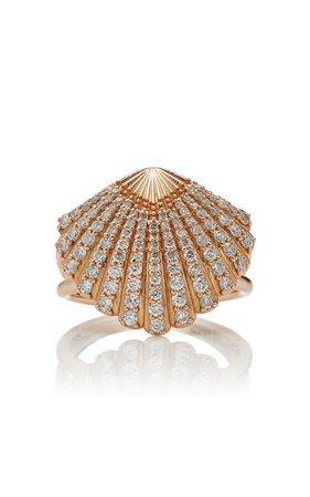 Bee Goddess Oyster 14K Gold Diamond Ring