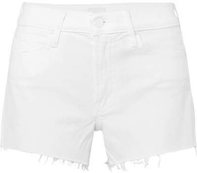 The Charmer Frayed Denim Shorts - White