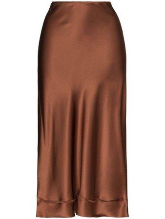 brown silk skirt