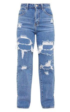 Petite Mid Blue Distressed Leg Split Hem Jeans   PrettyLittleThing