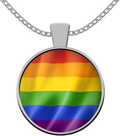 Amazon.com: thelemaaccessories LGBT Necklace - Rainbow Flag Symbol - Gay Lesbian Bi Transgender Queer Folks Pride Human Rights Gift: Jewelry