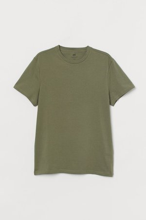 Regular Fit Crew-neck T-shirt - Light khaki green - Men | H&M US