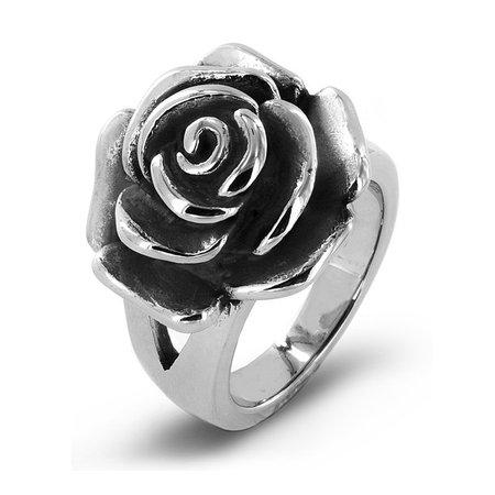 Coastal Jewelry - Coastal Jewelry Blooming Rose Stainless Steel Cocktail Ring (20mm) - Walmart.com - Walmart.com