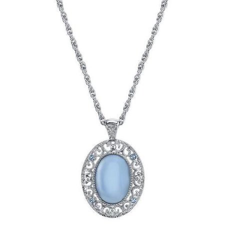 Silver-Tone Blue Moonstone Color Oval Pendant Necklace