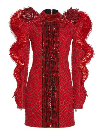 Balmain Dragon-Detailed Sequin Silk Mini Dress