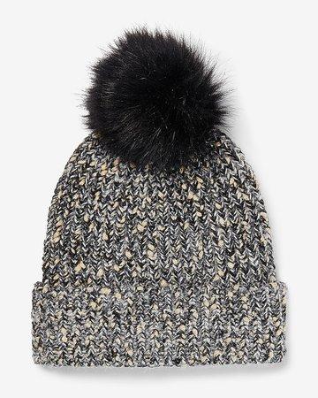 Metallic Ribbed Knit Pom Beanie   Express