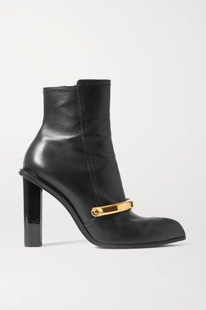 Embellished Leather Ankle Boots - Black