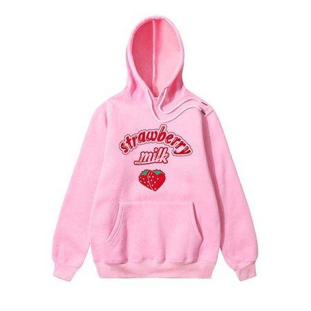 sweater, pink, strawberry, tumblr, aesthetic, pastel, pastel pink, lolita, sweet, internet, hoodie, pink hoodie, pink sweater, strawberry milk - Wheretoget