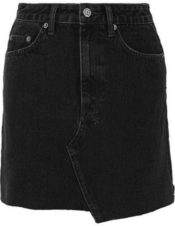 Hi Line Mini Venom Distressed Denim Mini Skirt - Black