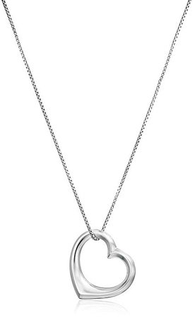 """Amazon.com: Amazon Essentials Sterling Silver Open Heart Pendant Necklace, Large, 18"""": Jewelry"""
