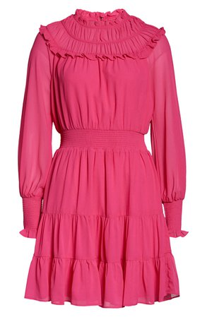 Harlyn Gathered Ruffle Long Sleeve Minidress  pink