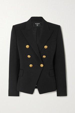 Double-breasted Wool-twill Blazer - Black
