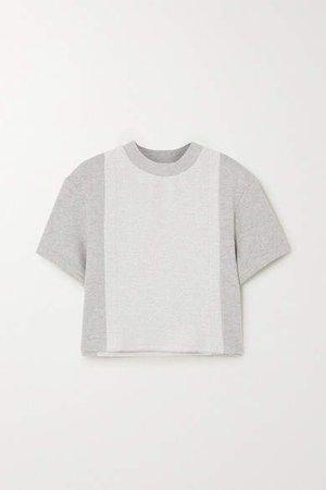 Twenty Montréal TWENTY Montreal - Sunnyside Cropped Paneled Cotton-blend Terry T-shirt - Gray